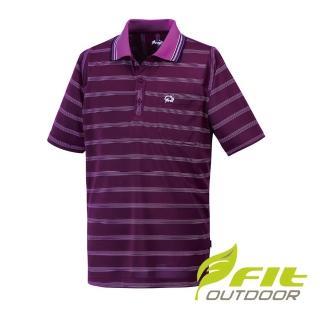 【Fit 維特】男-吸排抗UV寬條短袖POLO衫-紫紅 HS1105-65(POLO衫/寬條紋款/抗UV)