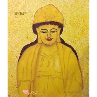 【豐財藝術】Namo Avalokiteshvara 寶冠觀世音菩薩能量真跡油畫(佛像油畫藝術收藏首選)
