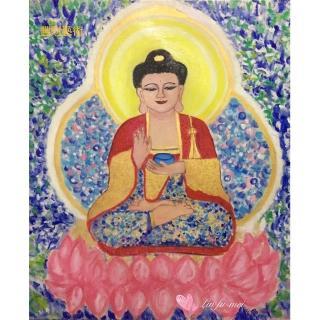 【豐財藝術】Namo Medicine Buddha 藥師琉璃光如來能量真跡油畫(佛像油畫藝術收藏首選)