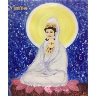 【豐財藝術】Namo Avalokiteshvara 白衣觀世音菩薩能量真跡油畫(佛像油畫藝術收藏首選)