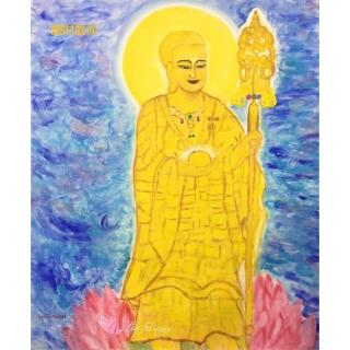 【豐財藝術】Namo Jizo Bodhisattva地藏王菩薩能量真跡油畫(佛像油畫藝術收藏首選)