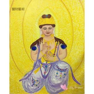 【豐財藝術】Namo Avalokiteshvara 金冠紫衣冠觀世音菩薩能量真跡油畫(佛像油畫藝術收藏首選)