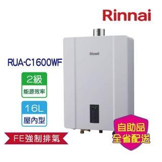 【2-6-2/28買就送吸塵器-林內】RUA-C1600WF屋內大廈型強制排氣熱水器16L(全省運送無安裝)/