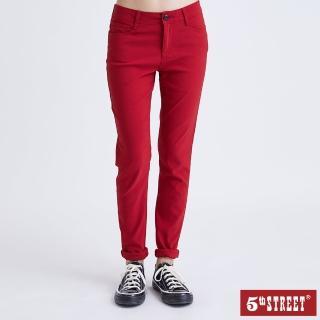 【5th STREET】女超彈力素色窄直筒褲-紅色(momo獨家)