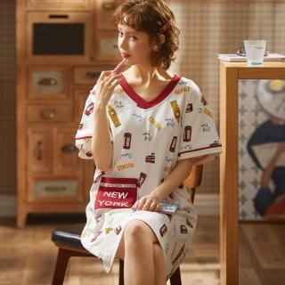 【Secret Lover】時尚V領前口袋居家服睡裙SL22025(女短袖居家服睡衣)