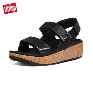 【FitFlop】REMI ADJUSTABLE LEATHER BACK-STRAP SANDALS 魔鬼氈可調整後帶涼拖-女(靚黑色)