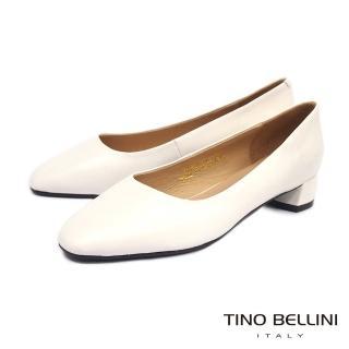 【TINO BELLINI 貝里尼】柔美簡潔全真皮方頭中跟鞋TF9089(米白)