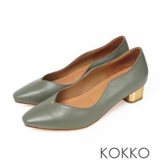 【KOKKO 集團】摩登印象小方頭V口軟底低跟鞋(抹茶綠)