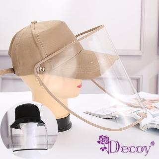 【Decoy】可拆透視*防疫飛沫防風雨防塵棒球帽/2色可選(口面罩/抗空汙/肺炎)