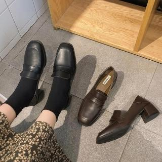 【K.W.】英倫格調增高百搭粗跟休閒皮鞋(共2色)
