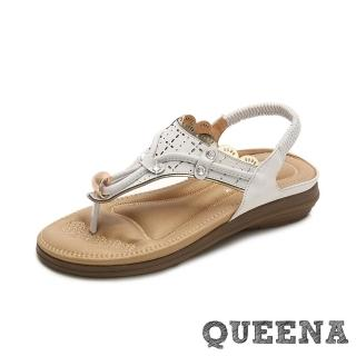 【QUEENA】波希米亞民族風華麗美鑽繩飾縷空刻花舒適坡跟夾腳涼鞋(白)