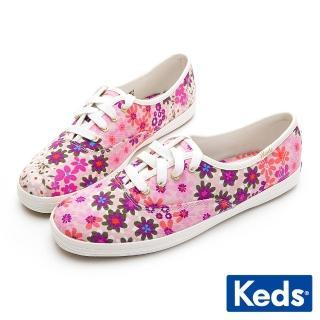 【Keds】x Kate Spade 聯名款 CHAMPION 俏皮小花帆布休閒鞋(粉紅)