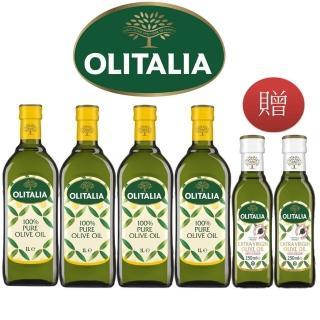 【Olitalia 奧利塔】純橄欖油1000mlx4-禮盒組(贈特級初榨橄欖油250mlx2瓶)
