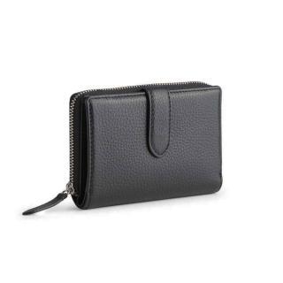【MARKBERG】Ellis 丹麥手工牛皮艾利斯側翻雙層短夾 錢包(極簡黑)