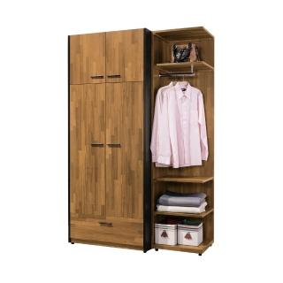 【BODEN】雷吉4尺工業風多功能收納衣櫃組合(四門一抽+開放式)