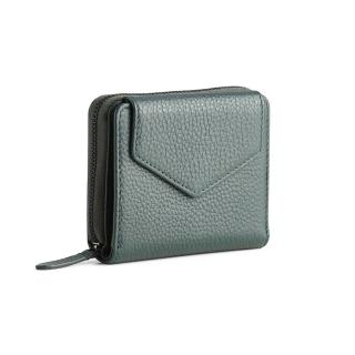 【MARKBERG】Laura 丹麥手工牛皮蘿拉側翻雙層短夾 錢包(森墨綠)