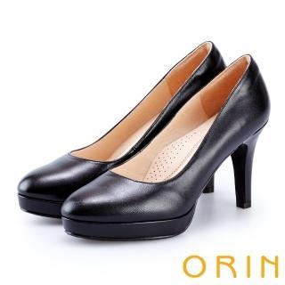 【ORIN】展現時尚魅力 後跟金屬條飾羊皮質感高跟鞋(黑色)