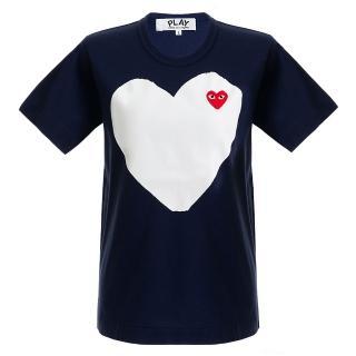 【川久保玲】Comme des PLAY系列白底小紅愛心圓領T恤(深藍色)