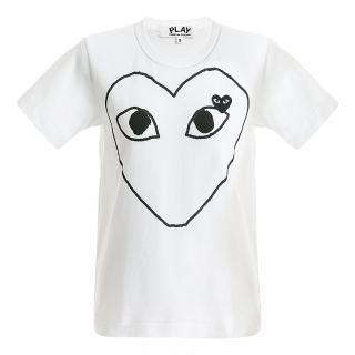 【川久保玲】Comme des PLAY系列大愛心線條x小黑愛心圓領T恤(白色)