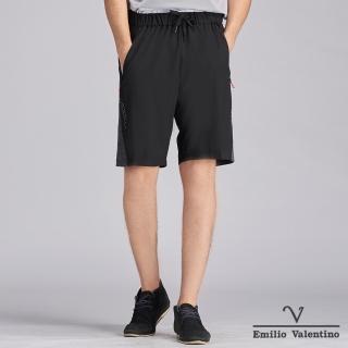 【Emilio Valentino 范倫鐵諾】時尚俐落撞色拼接運動短褲_黑/綠(15-C3905)