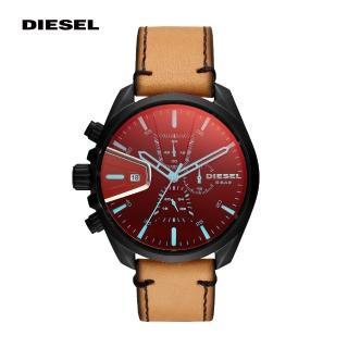 【DIESEL】MS9 奔馳者淺棕色真皮計時男錶 47MM DZ4471