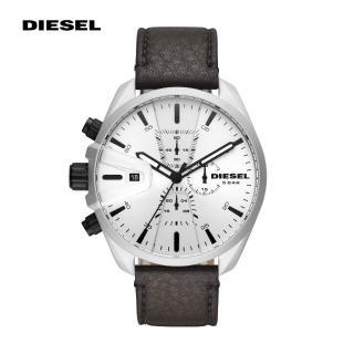【DIESEL】MS9 奔馳者黑色真皮計時男錶 48MM DZ4505