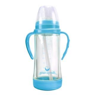 【美國 green sprouts】多用途雙層玻璃奶瓶/水瓶 236ML—外層保護玻璃瓶_水藍色(GS124990A)