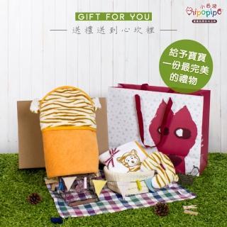 【hipopipo 小西波】頂級超細纖維彩色小虎包澡巾/包巾+手搖鈴(寶寶彌月禮盒首選)