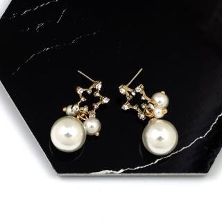 【HaNA 梨花】無耳洞/耳針款韓國滿天星大小珍珠耳環