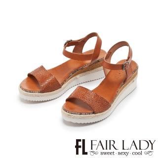 【FAIR LADY】PORRONET皮革壓紋一字楔型厚底涼鞋(咖、222231)