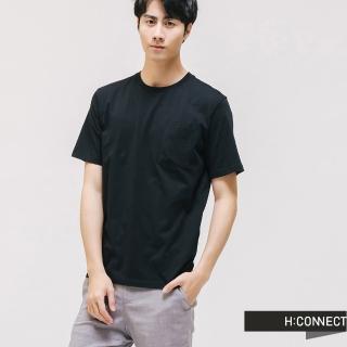 【H:CONNECT】韓國品牌 男裝 -圓領口袋棉質T-shirt(黑色)