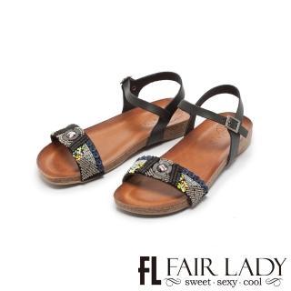 【FAIR LADY】PORRONET民族風串珠拼接一字平底涼鞋(黑、122218)