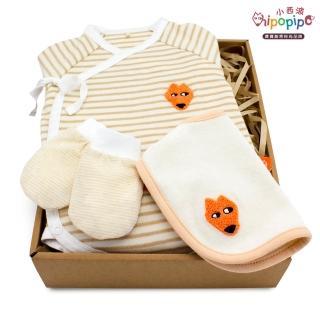 【hipopipo 小西波】有機棉小狐包屁衣禮盒 B款(內含口水兜+小手套)