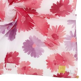 【Sybilla】繽紛水彩花卉純綿帕巾領巾(紅花/白色)