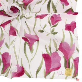 【Sybilla】典雅彩繪花葉純綿帕巾領巾(紫紅色)