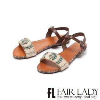 【FAIR LADY】PORRONET彩線編織水鑽一字平底涼鞋(摩卡、122212)
