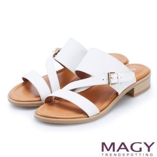 【MAGY】樂活渡假 斜邊造型牛皮低跟拖鞋(白色)