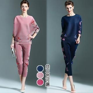 【KEITH-WILL】優美復古印花兩件式壓褶套裝(共3色)