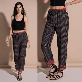 【KEITH-WILL】印花歐美都會OL寬褲XL(共1色)