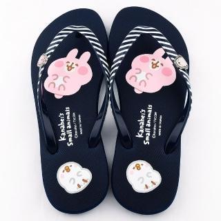 【童鞋城堡】Kanahei 女款 卡娜赫拉小動物 條紋鞋帶夾腳拖(KI0553-藍)