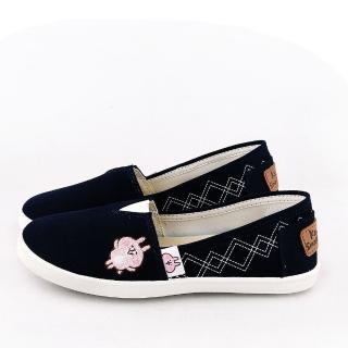 【童鞋城堡】Kanahei 女款 卡娜赫拉小兔兔 幾何圖形帆布休閒鞋(KI8310-藍)