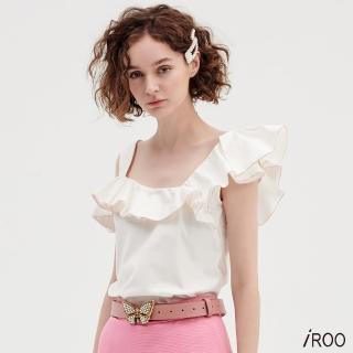 【iROO】白色不對稱荷葉紅匹克背心