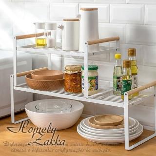 【Homely Zakka】日式簡約木質藝鐵多功能分層置物架/湯鍋隔層收納架/整理架(小)