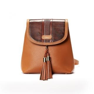 【Kimberly Lynn Accessories】真皮換蓋後背包 百變包(深棕雅典款 不含流蘇需加購 女包 後背包 真皮包)