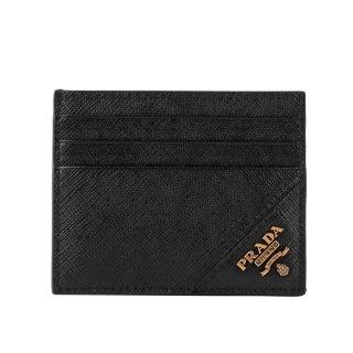 【PRADA 普拉達】浮雕logo卡片/名片夾(黑色)