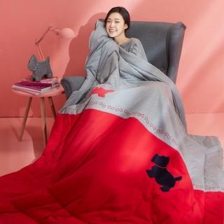 【Yvonne Collection】梗犬愛骨頭雙人四季被_6x7呎(紅/灰)