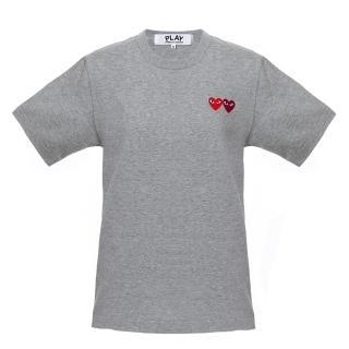【川久保玲】Comme des PLAY系列 刺繡雙愛心 基本款 灰色 圓領T恤
