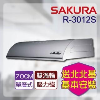 【SAKURA 櫻花】R-3012S單層式除油煙機_不銹鋼70cm(北北基含基本安裝)