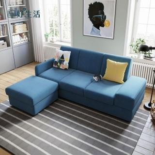 【hoi!】林氏木業簡約現代多功能儲物右三人布沙發床+腳踏附抱枕1004 V2-藍色