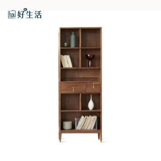 【hoi!】原木北歐西西里黑胡桃木實木輕奢高書櫃 H0465